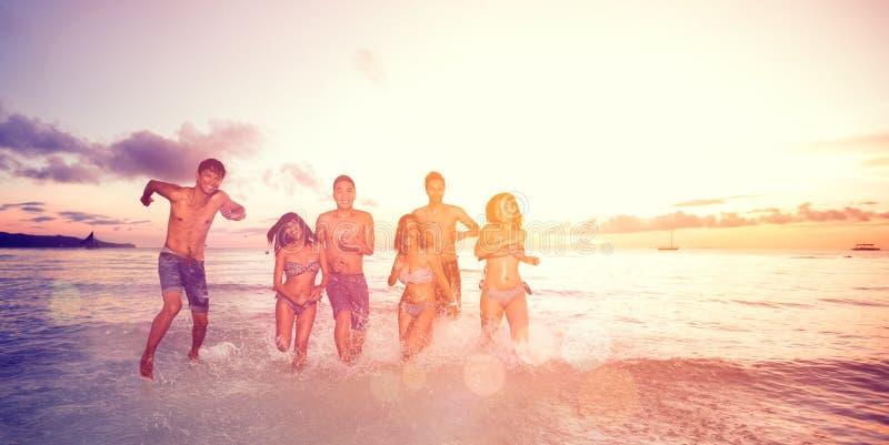 Young people having fun in sea royalty free stock photo