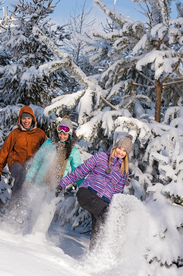Young people having fun with snow laughing royalty free stock photo