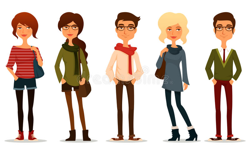 Young People With Hipster Fashion Style Stock Vector Illustration Of Outfit Male 66292872