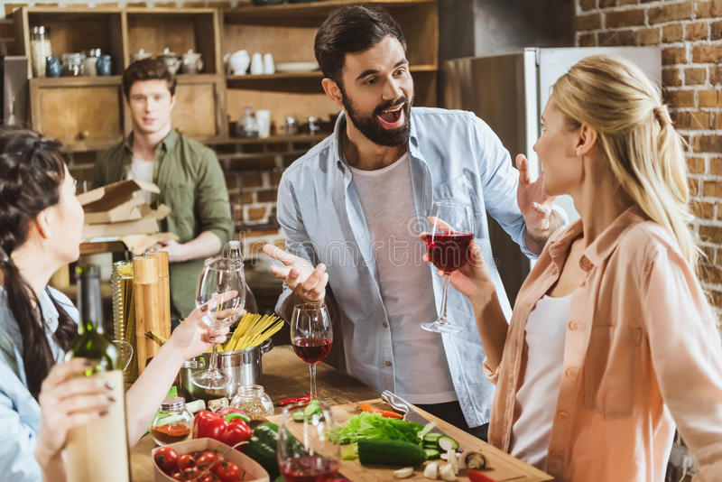 Young people at home party royalty free stock photography
