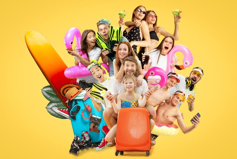 Young people isolated on yellow studio background stock images