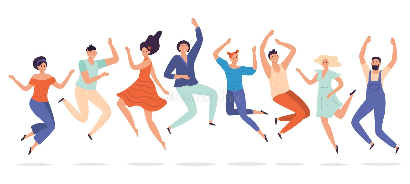 Young people jump. Jumping teenagers group, happy teen laughing students and smiling excited people flat vector royalty free illustration