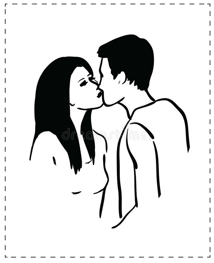 Young people kissing stock illustration