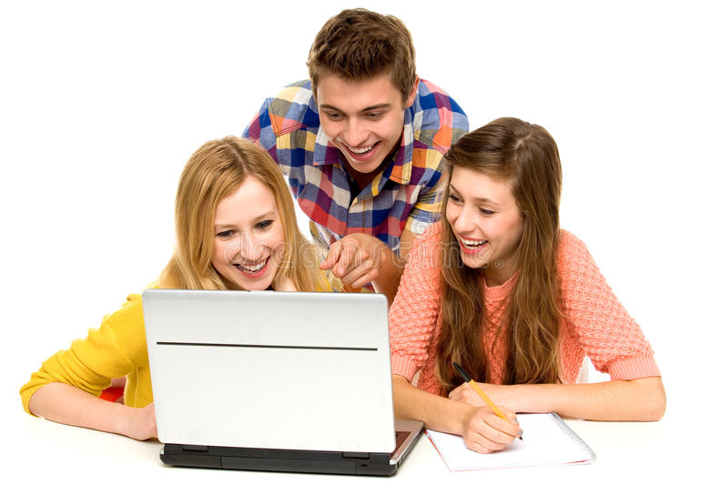 Download Young People Looking At Laptop Stock Photo - Image: 21338736