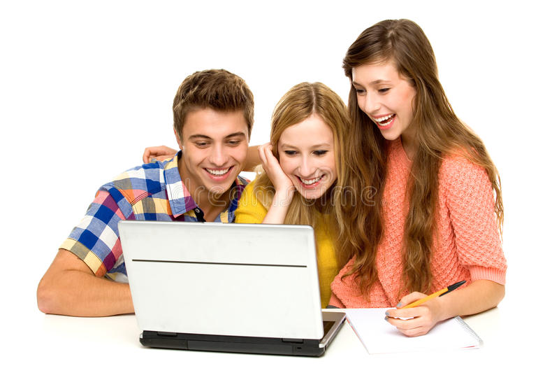 Young People Looking At Laptop Stock Photos