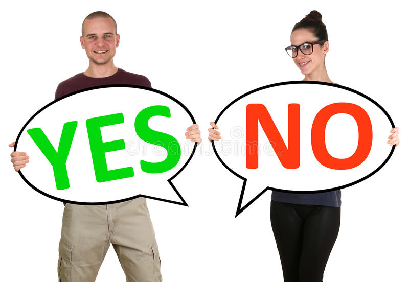 Young people man woman choosing voting yes no. Young people men women choosing voting yes no isolated royalty free stock photos