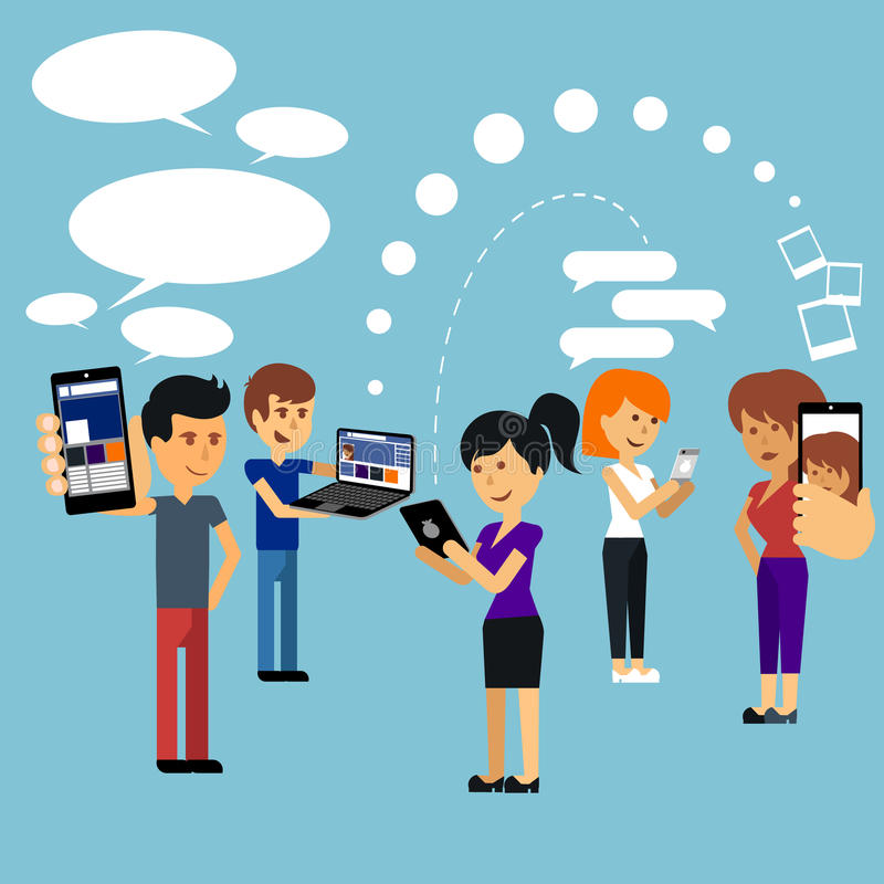 Young people man and woman using technology gadget. Smartphone mobile phone tablet pc laptop computer in social network communication concept flat design royalty free illustration