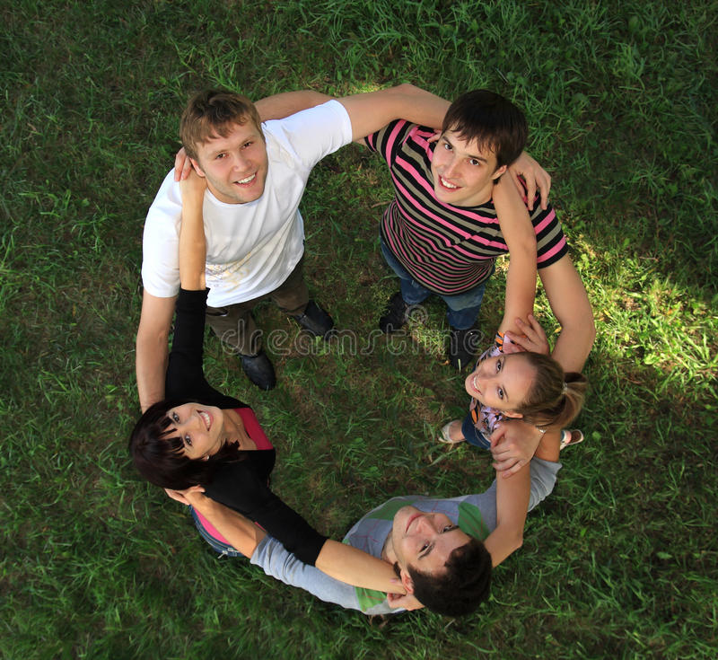 Young people on nature. royalty free stock image
