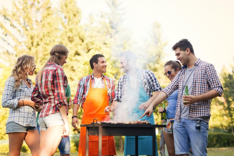 Young and happy people in nature having fun stock image