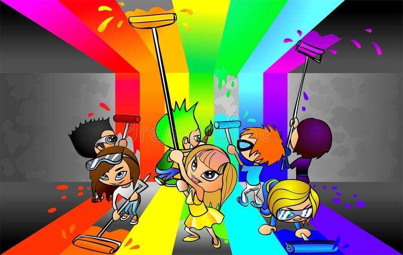 Young people painting a room in many colors stock illustration