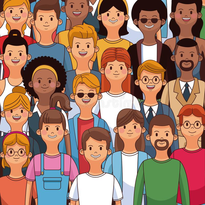 Young people piled. Cartoons vector illustration graphic design royalty free illustration