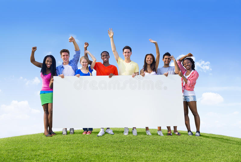 Download Young People With Placard stock photo. Image of multi - 37440712