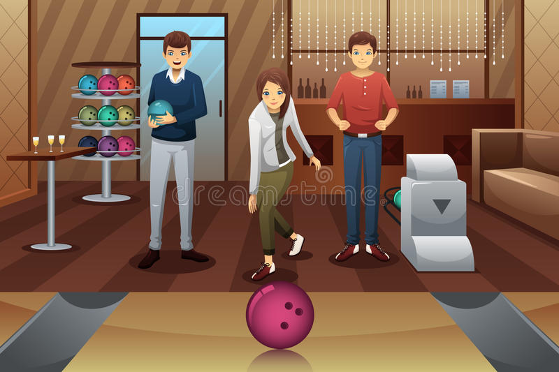 Young people playing bowling royalty free illustration