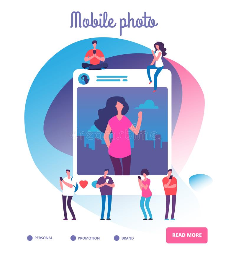 Young people posting self photos. Social network publication, youngsters shooting photo pictures or smartphone addiction. Vector concept. Photo selfie post royalty free illustration
