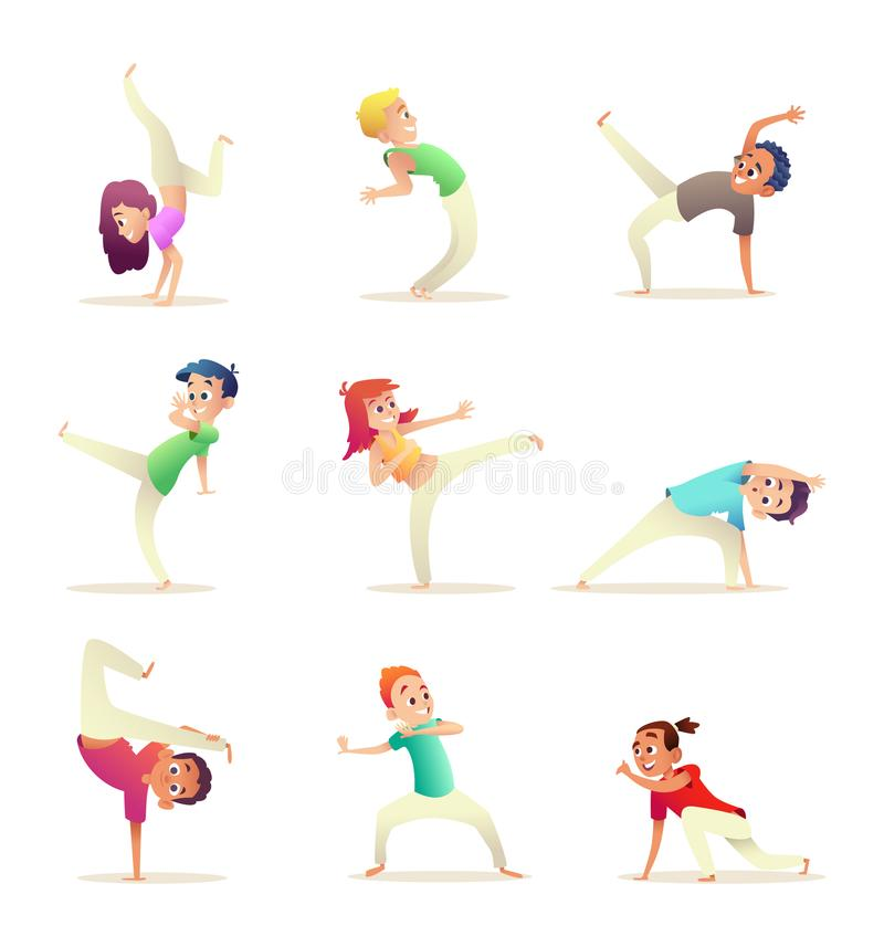 Young people practice capoeira movement. Kids doing different combat elements of martial arts. Cartoon design character. Character collection vector illustration