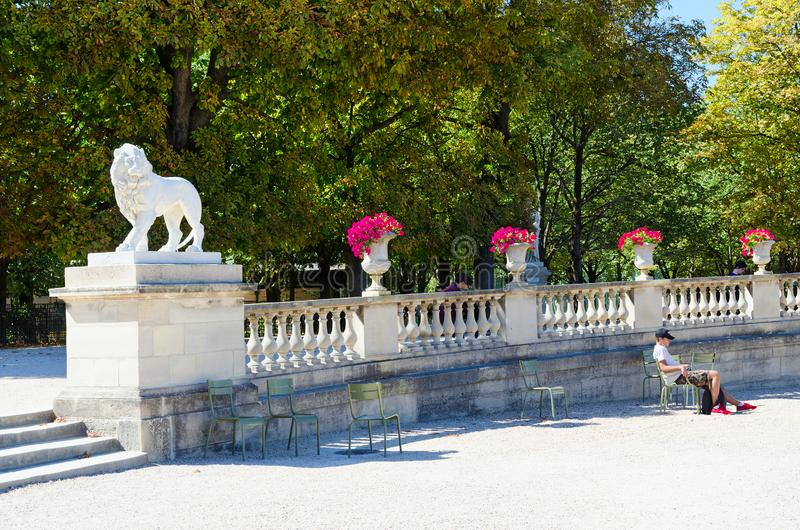 Young people relax in famous Luxembourg Garden, Paris, France stock image