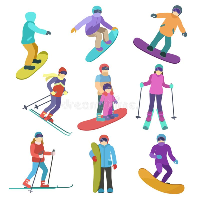 Young people ride downhill in winter sports snowboarding and skiing. royalty free illustration