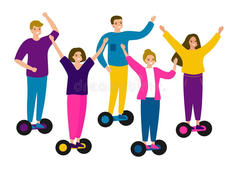 Young people teens riding hover board, gyro board, balance board. Group men and women friends on electric self balancing scooters royalty free illustration