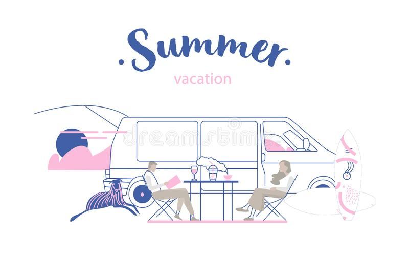 Friends sitting camper van vector illustration royalty free illustration