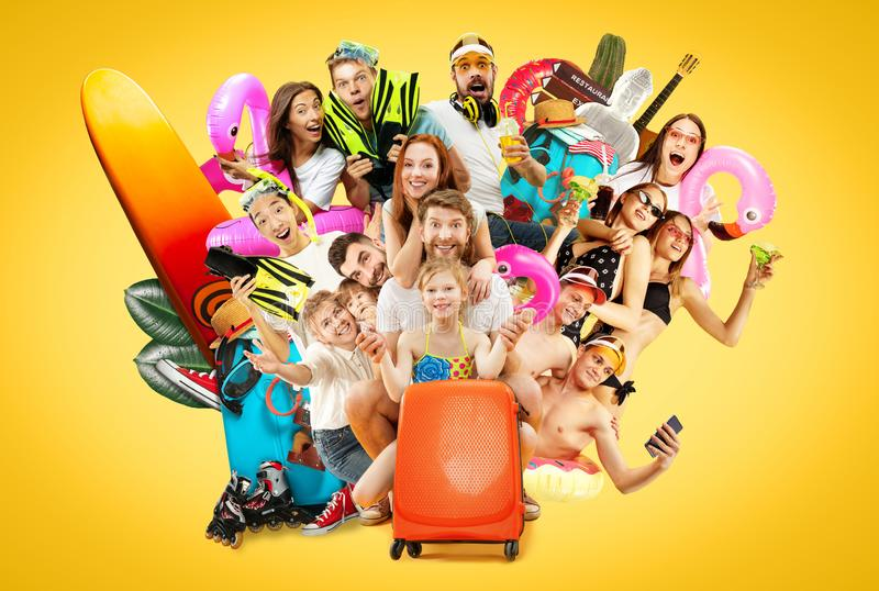 Young people isolated on yellow studio background royalty free stock photo