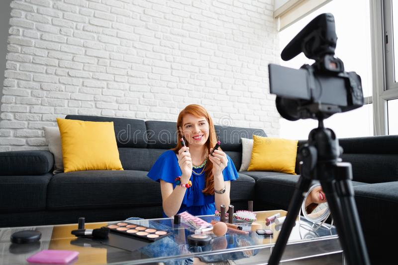 Young People Shooting Makeup Video For Vlog Video Blog stock photography