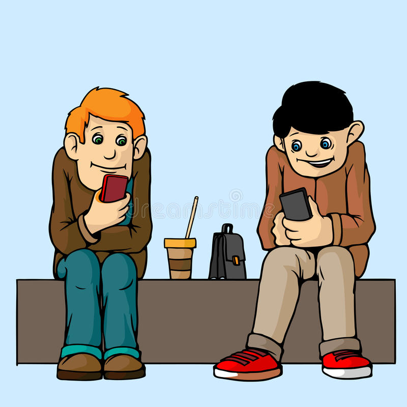Free Young People . Sit On The Bench. Attention To Each Other Do Not Pay. Listen To Musi. Royalty Free Stock Photos - 88342388