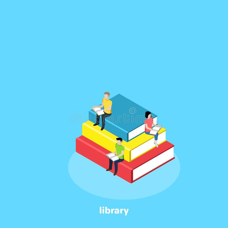 Young people sitting on a pile of books and reading stock illustration