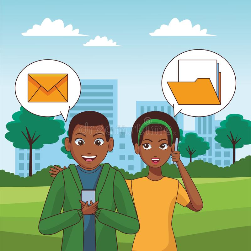 Young people with smartphones. Young afro friends using smartphone to mailing vector illustration graphic design royalty free illustration