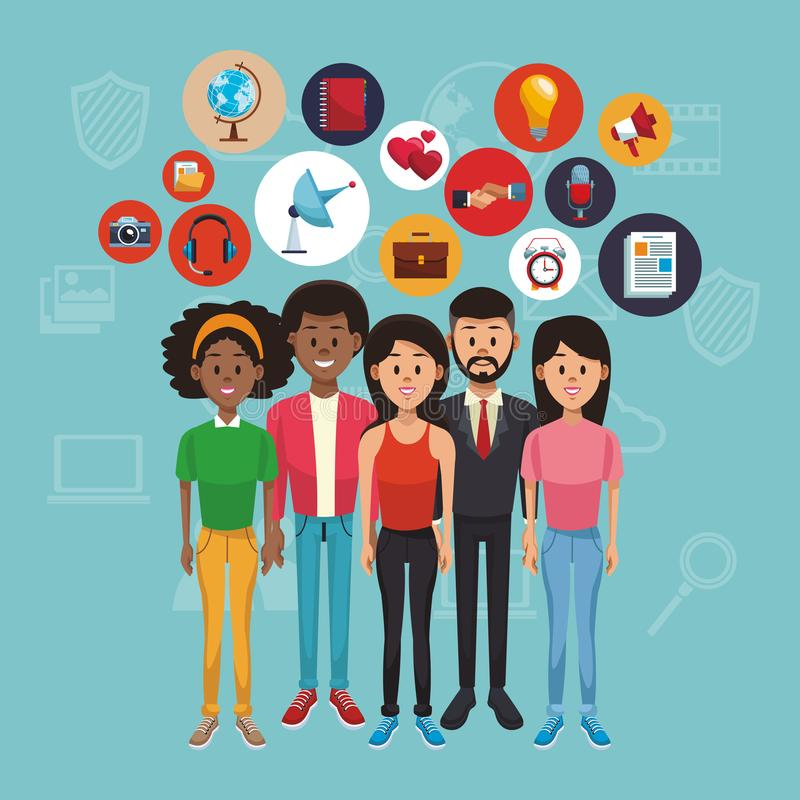 Young people and social media stock illustration