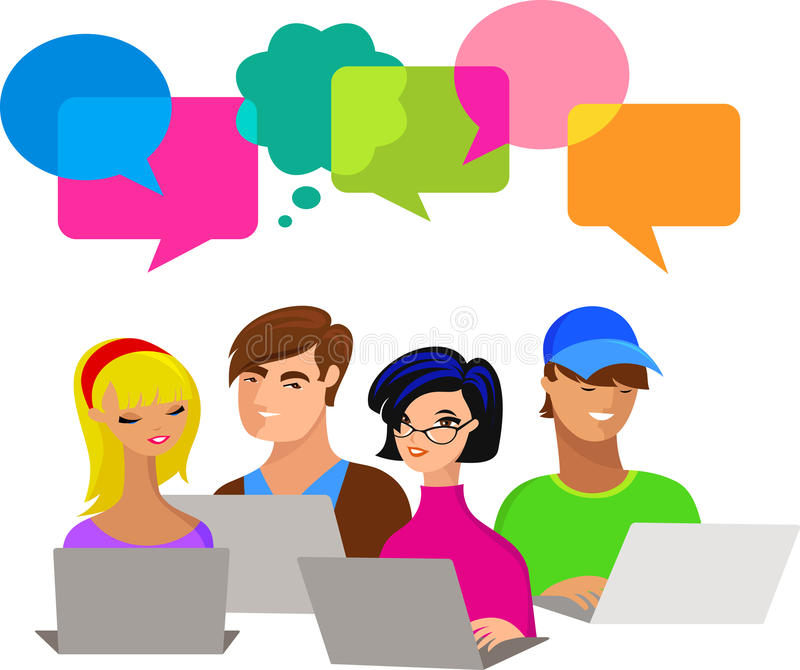 Download Young People With Speech Bubbles And Computers Stock Vector - Illustration: 20014465