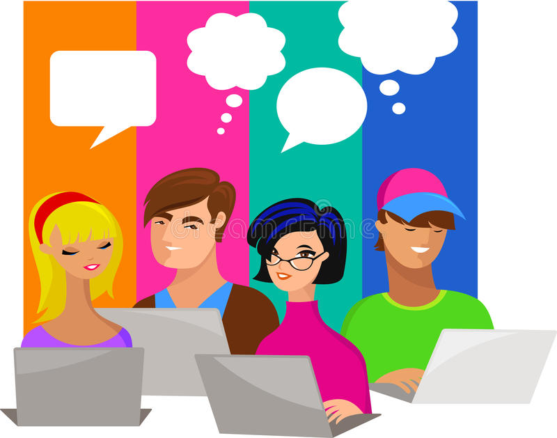 Young people with speech bubbles and computers stock illustration