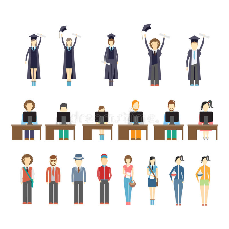 Young people and students royalty free illustration