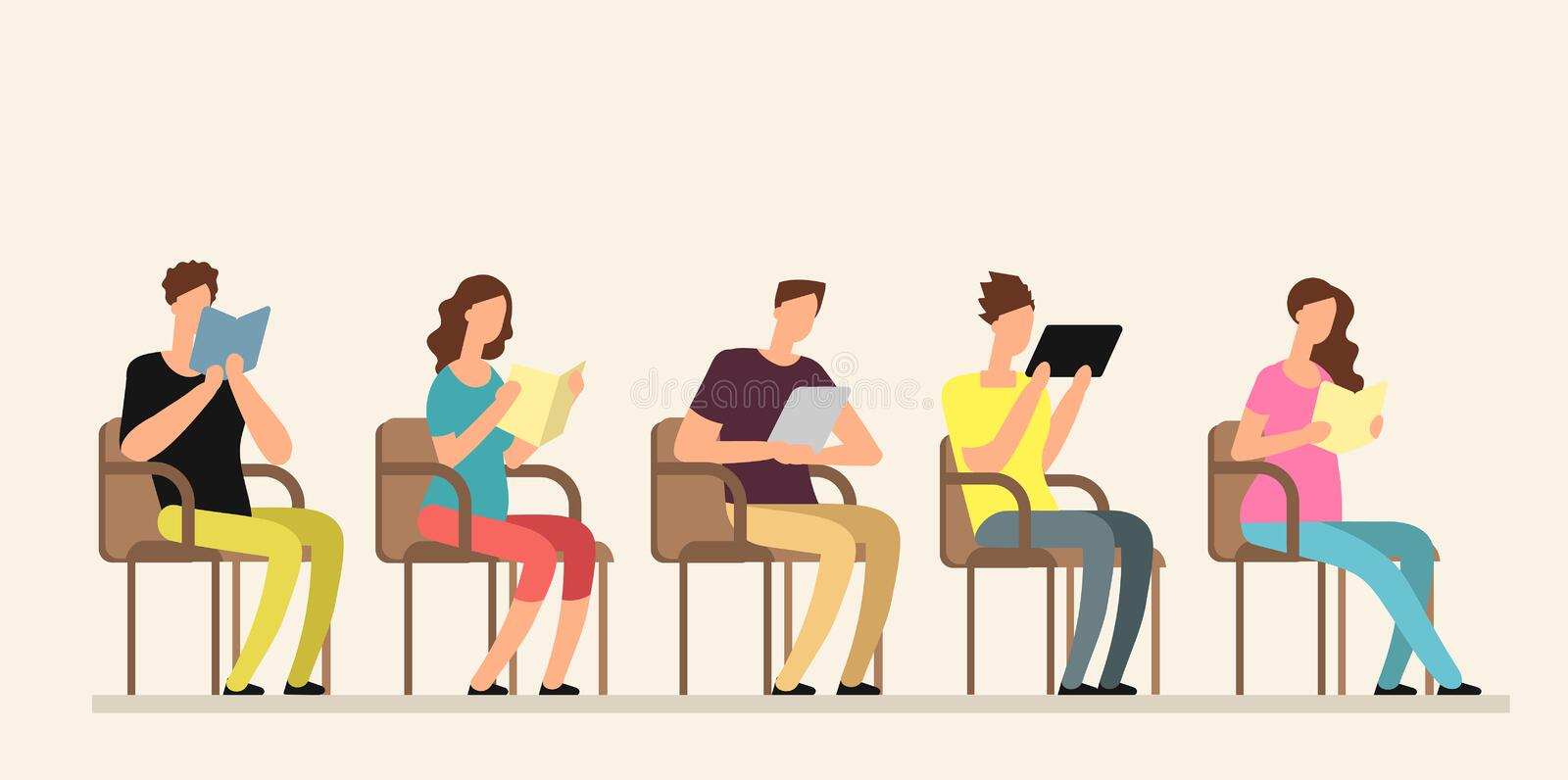 Young people studying with books in group. Friends reading together. Team education lifestyle vector concept. Education people, students character reading and royalty free illustration