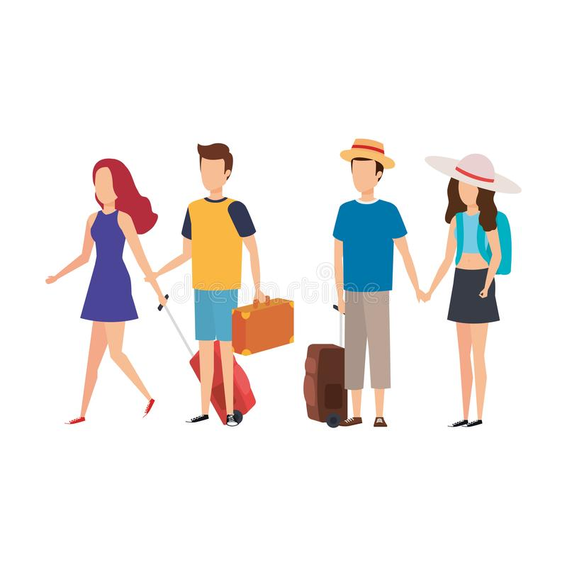 Young people with suitcases travel vector illustration