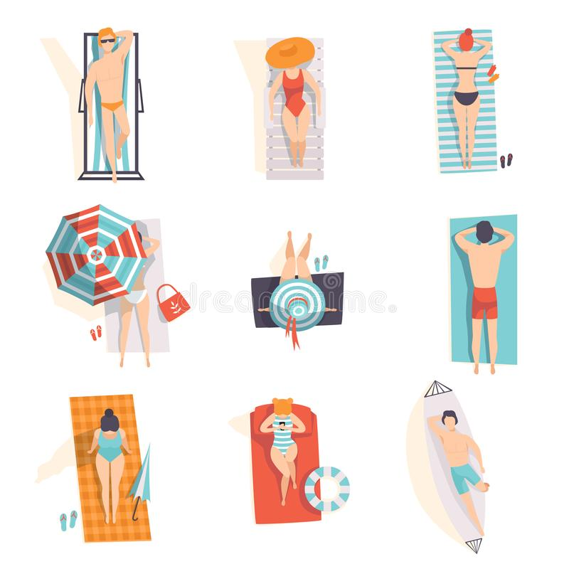 Young people sunbathing on the beach set, top view of lying men and women vector Illustrations on a white background royalty free illustration
