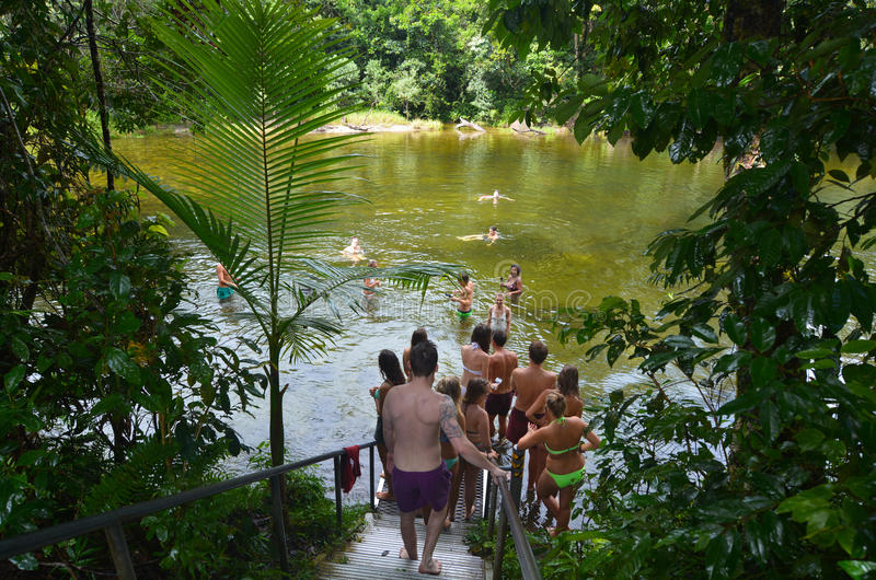 Young people swim in Babinda Boulders in Queensland Australia. Young people swim in Babinda Boulders an iconic Cairn attraction and popular swimming hole and royalty free stock photo