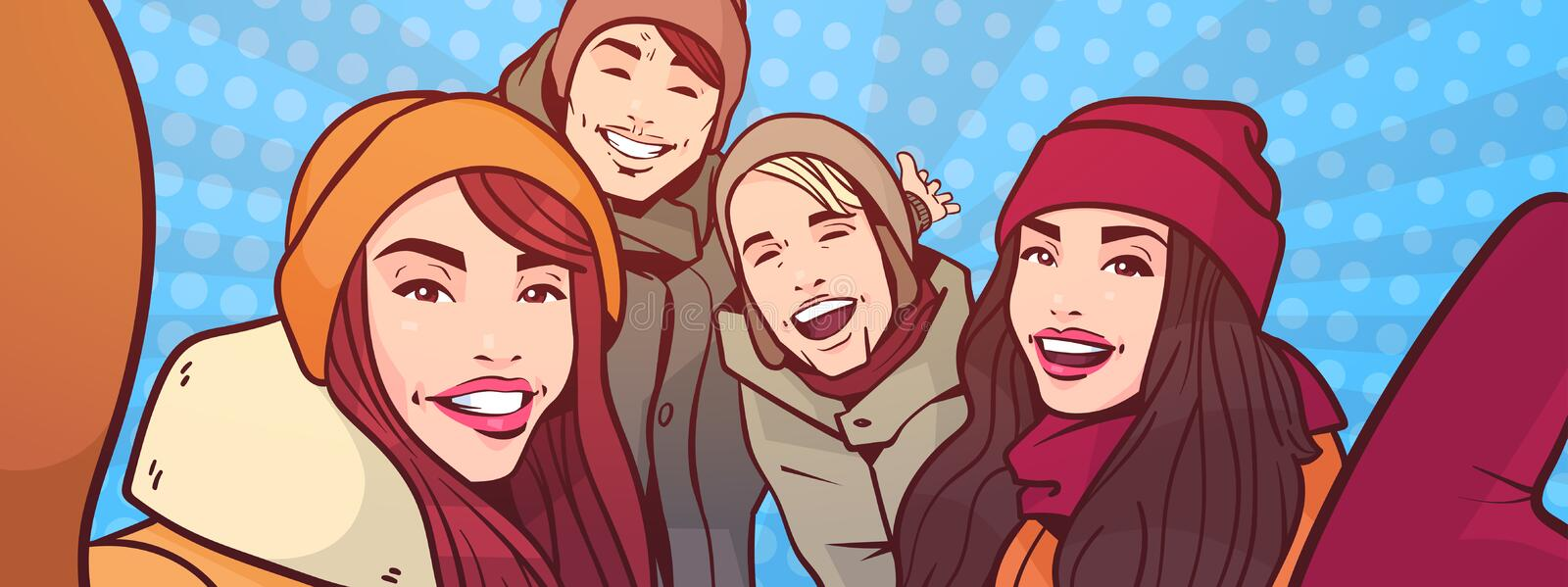 Young People Take Selfie Photo Over Colorful Retro Style Background Mix Race Men And Women Group Happy Smiling Make Self royalty free illustration