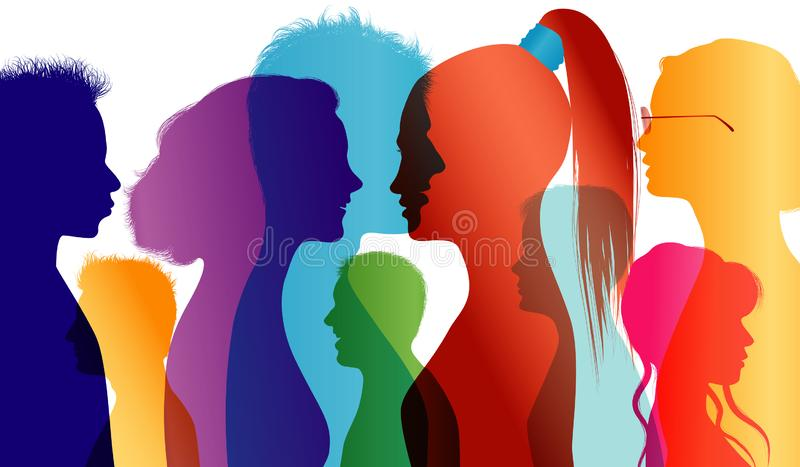 Young people talking. Students. Young people. Students talking. Colored silhouette profiles. Vector Multiple exposure. Illustration multiple color exposure with vector illustration