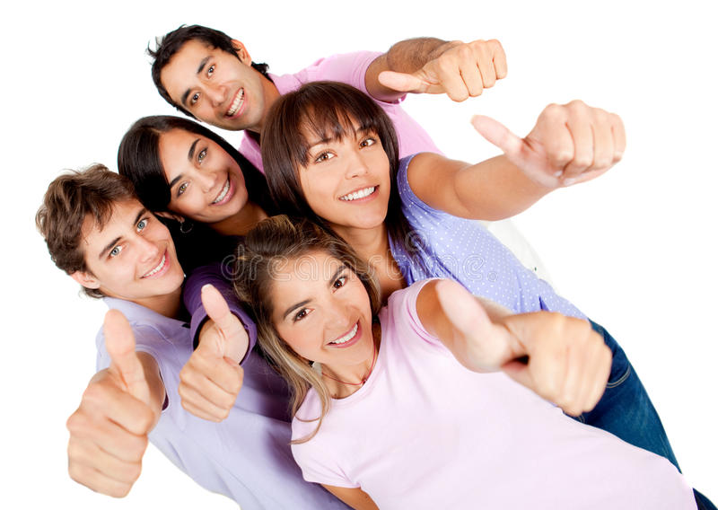 Young people with thumbs-up