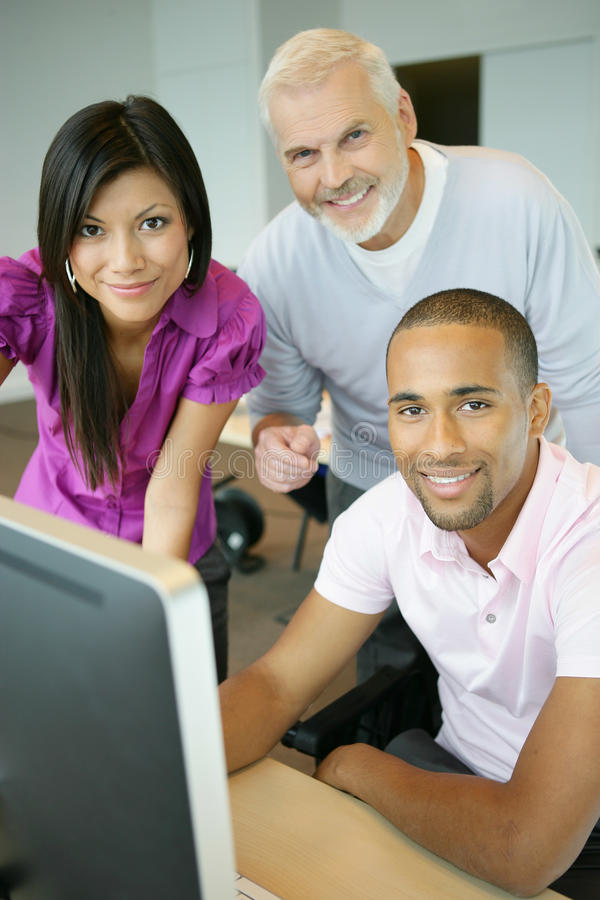 Young people in a training course stock images