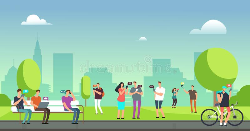 Young people using smartphones and tablets walking outdoors in park. Mobile internet addiction vector concept vector illustration