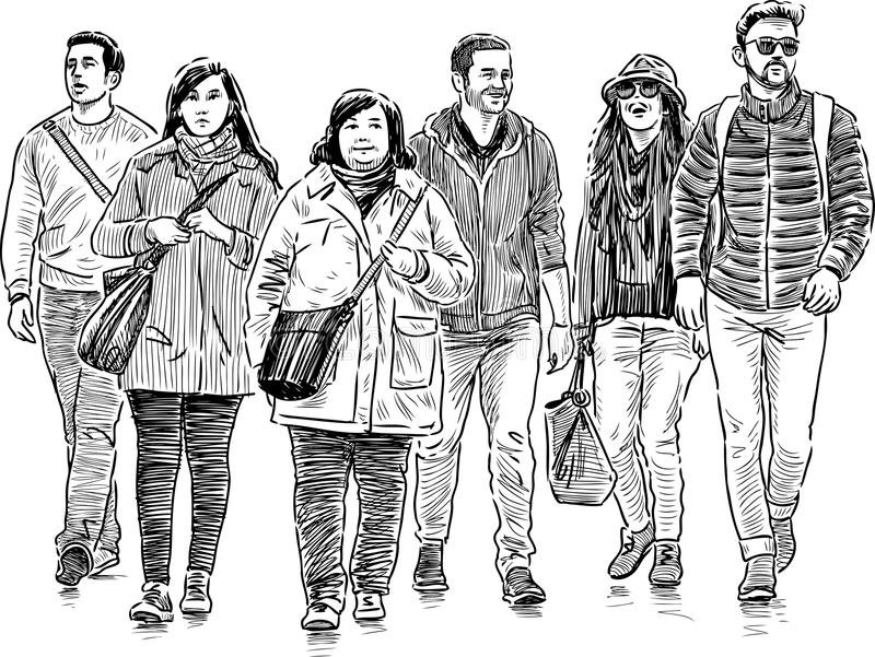young people on a walk stock illustration