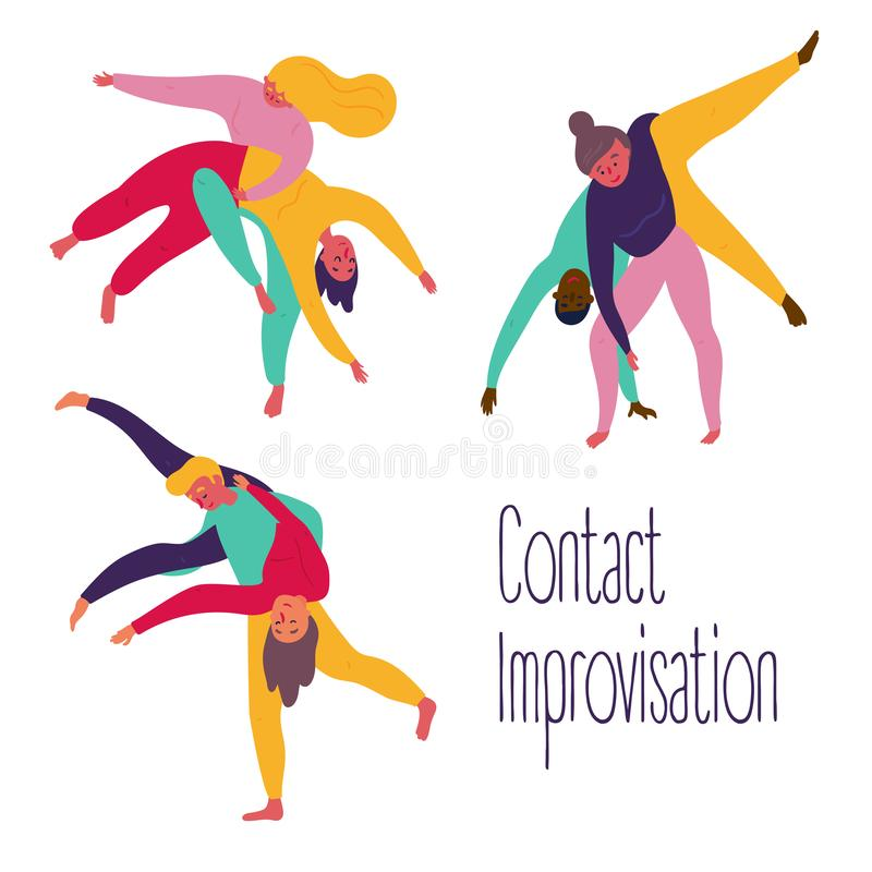 Set of contact improvisation, theatrical exercise. Young people in yoga contact improvisation, positions set. Woman and man partner practice theatrical yoga vector illustration
