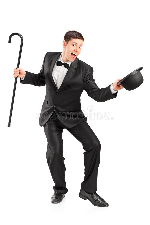 Download Young Performer With Cane And Hat Gesturing Royalty Free Stock Images - Image: 28334719