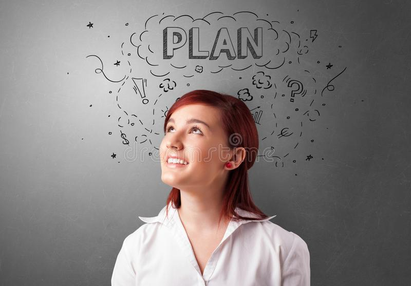 Young person looking forward to a new idea stock photography