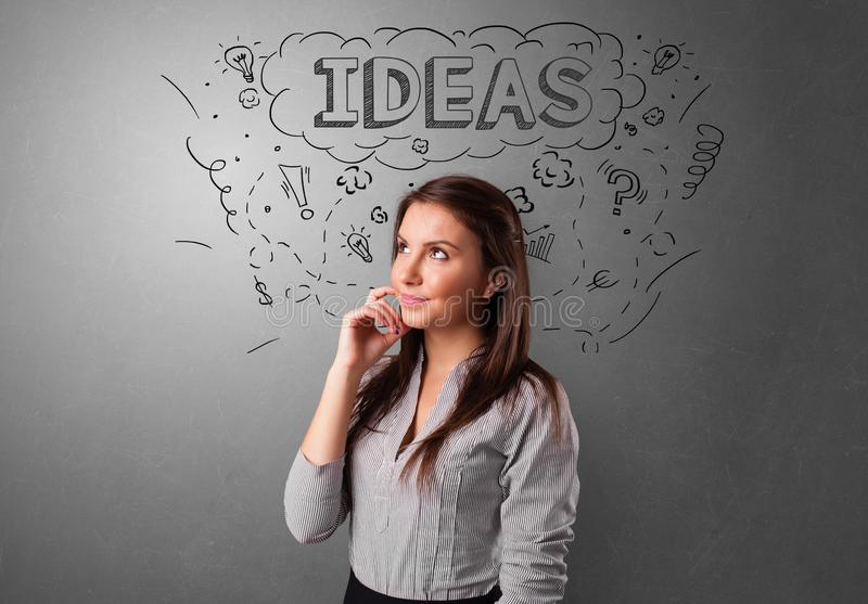 Young person looking forward to a new idea royalty free stock photo