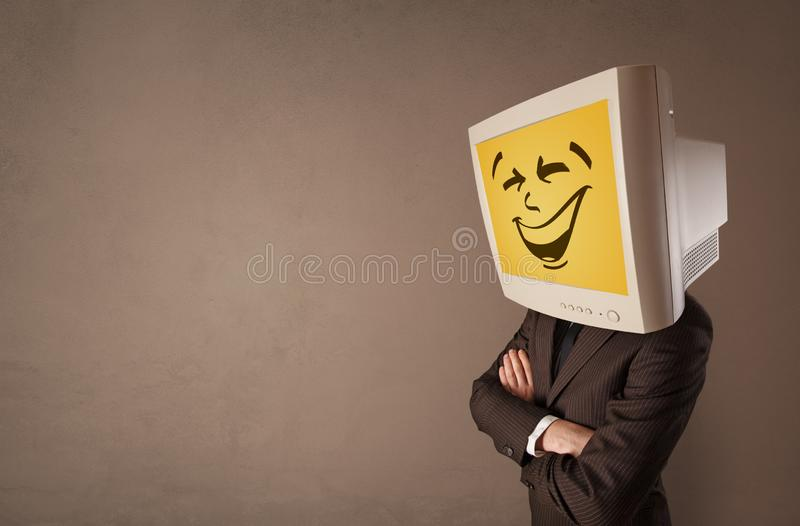 Young person with monitor head stock image