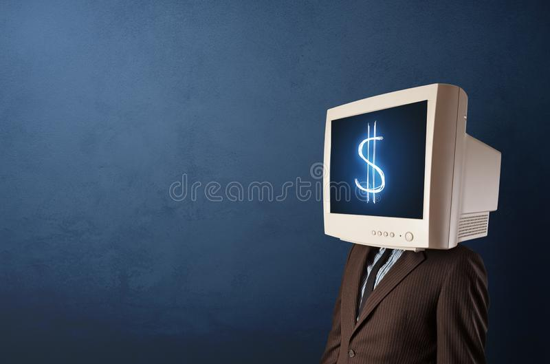 Young person with monitor on head royalty free stock photos