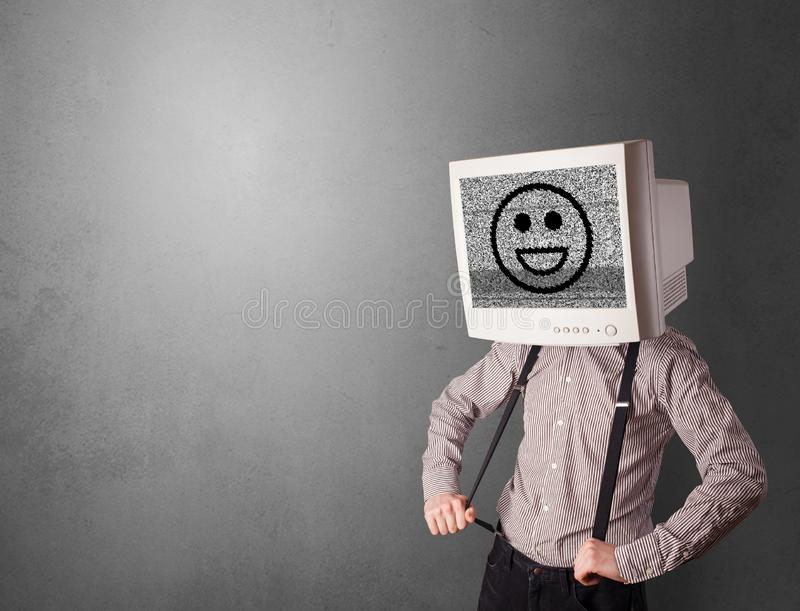 Young person with monitor on head royalty free stock images