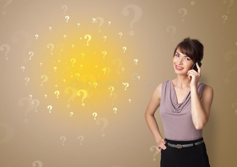 Person presenting something with question sign concept royalty free stock images